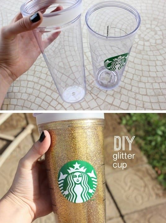 43 fun and creative diy gift ideas everyone on your gift list will diy glitter drink cup negle Image collections