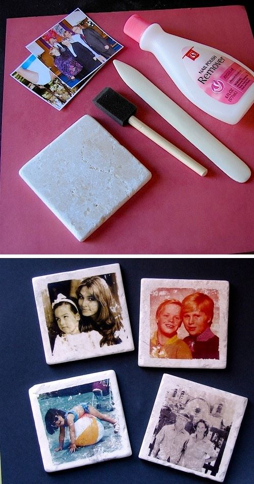 43 fun and creative diy gift ideas everyone on your gift list will 31 make these aged photo tile coasters solutioingenieria Gallery