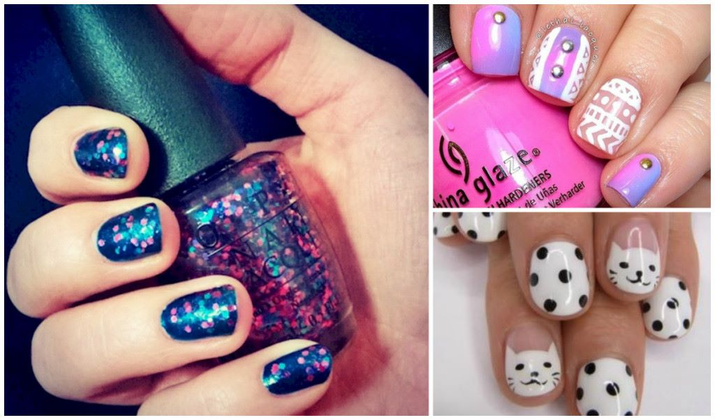 24 impressive nail designs for short beautiful nails diy cozy home short nails prinsesfo Image collections
