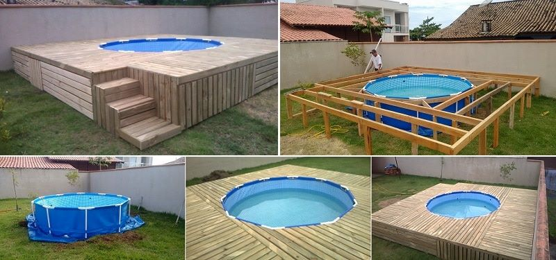 Above ground pool with diy deck diy cozy home for Como hacer una piscina economica
