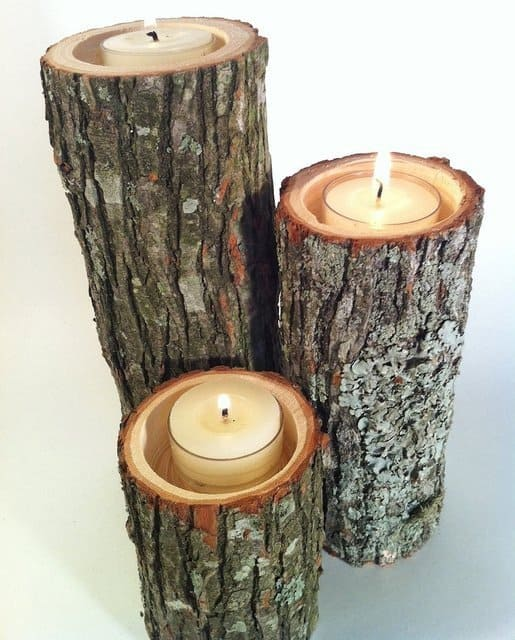 Perfect 28. Log Candle Holders:
