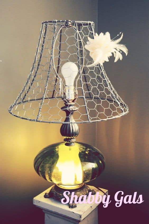 13 spectacular diy chicken wire craft ideas diy cozy home a great way to decorate your lamp and make it look more fun chicken wire makes a great diy lampshade greentooth Choice Image