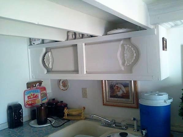 shed into a tiny home cupboards