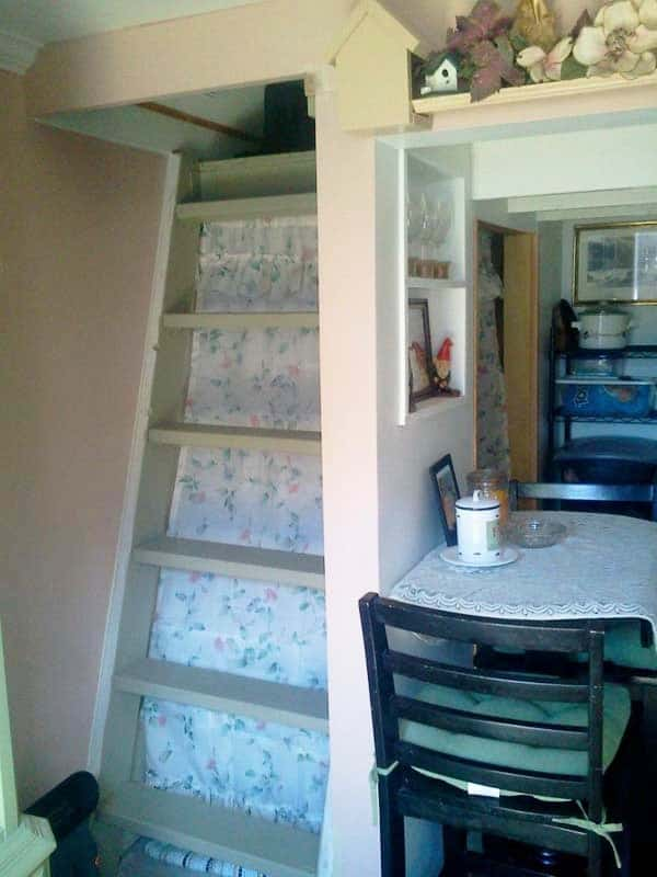shed into a tiny home stairs