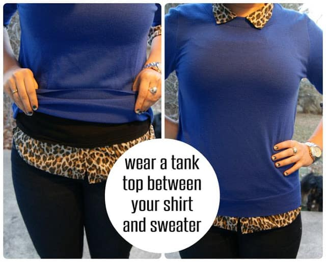 fashion mistakes tank between shirt and sweater