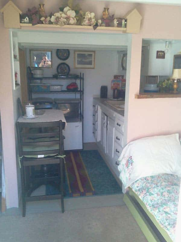 shed into a tiny home living room 1