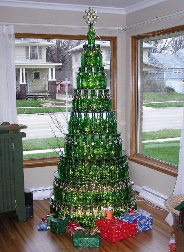 DIY Christmas tree beer bottle
