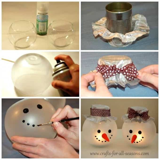 diy christmas decorations candle holder snowman