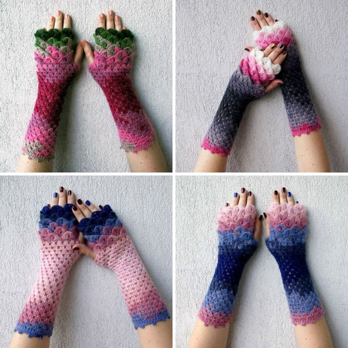 Crochet Dragon Gloves 3