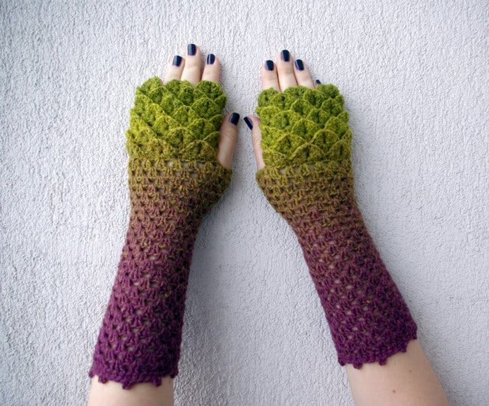 Crochet Dragon Gloves 4