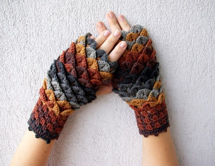 Crochet Dragon Gloves 5