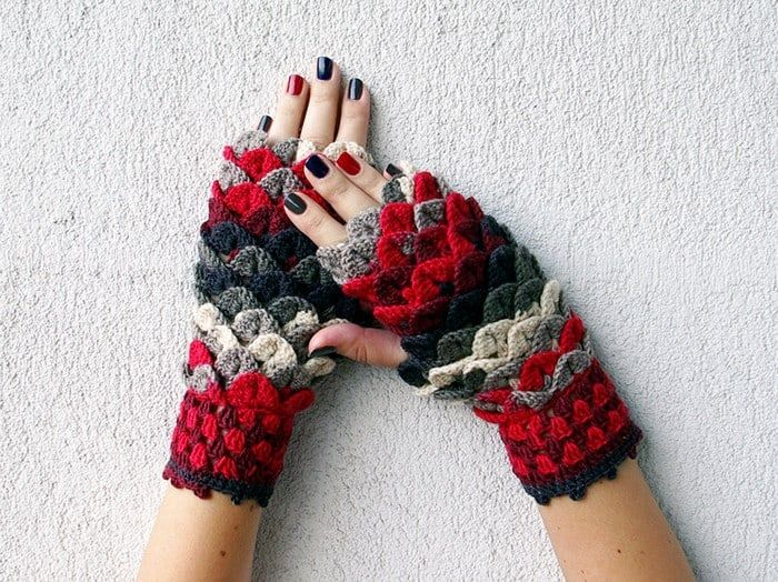 Crochet Dragon Gloves 7