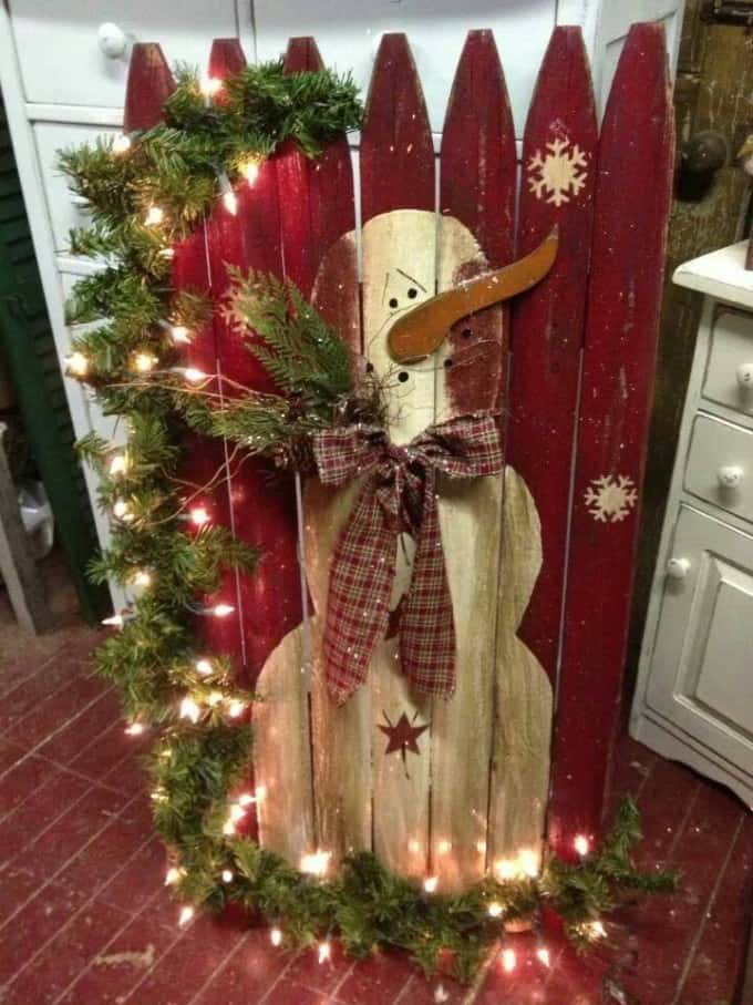 diy christmas decorations fence canvas
