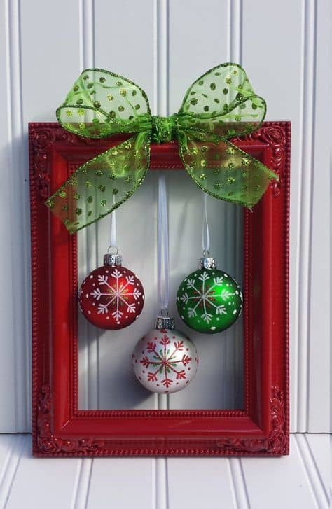 for a fun diy project turn an old picture frame into some christmas decor diy christmas decorations frame decoration