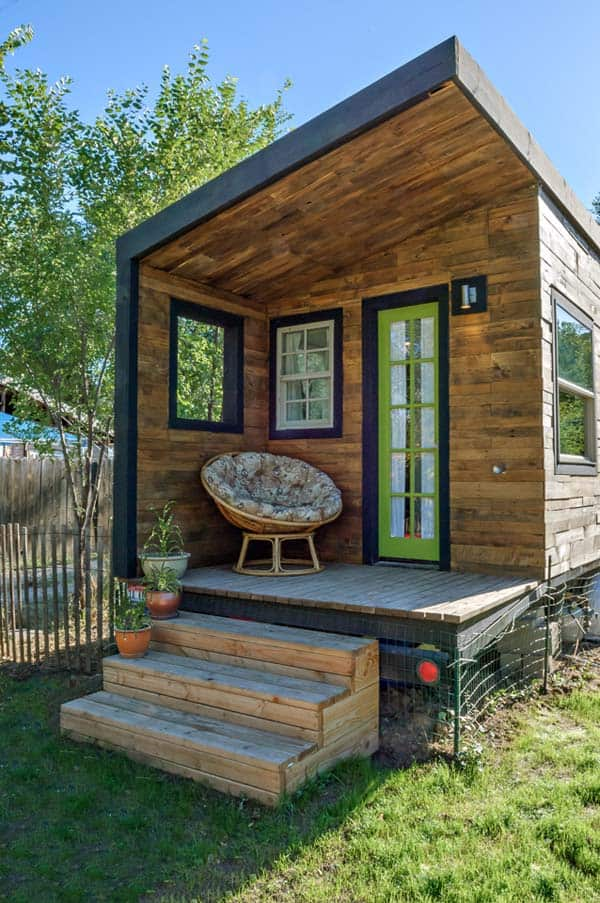woman built a tiny home front door