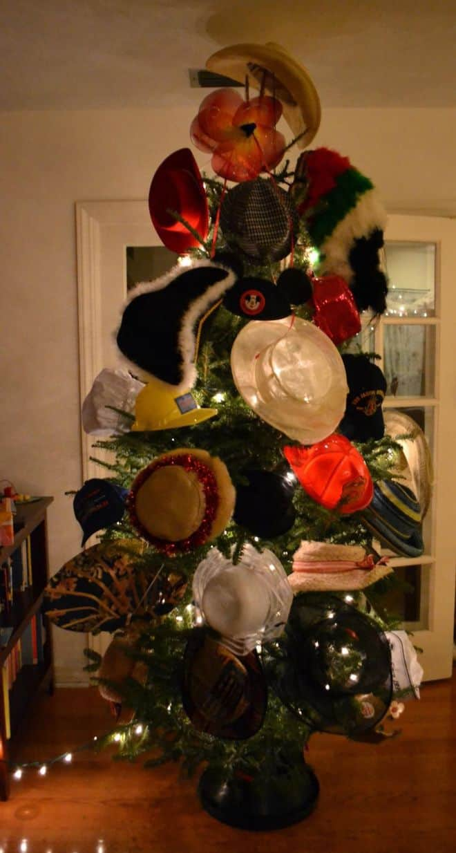 DIY Christmas tree hat rack