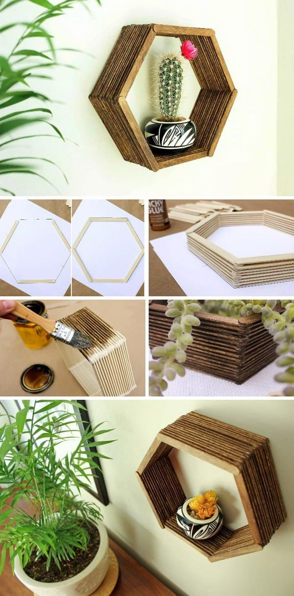 DIY shelves hexagon shelf 1