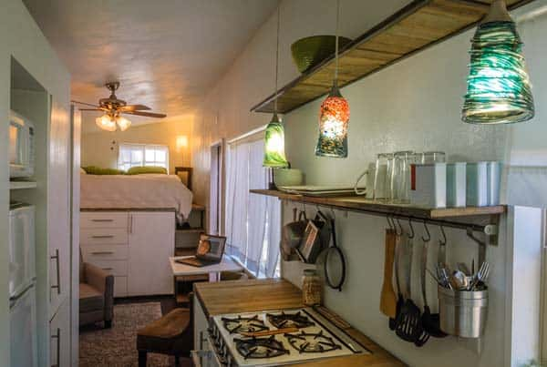 woman built a tiny home kitchen 2
