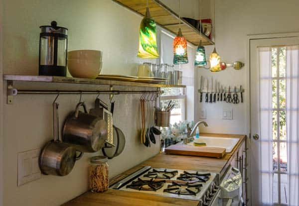 woman built a tiny home kitchen