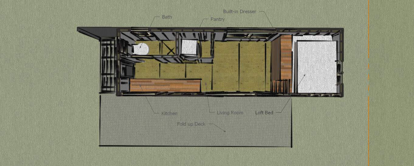 woman built a tiny home layout