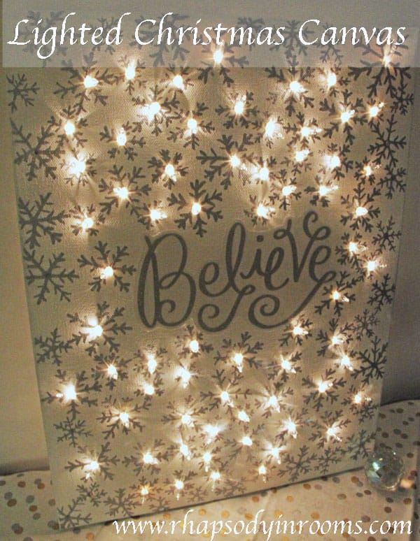 diy christmas decorations lighted canvas