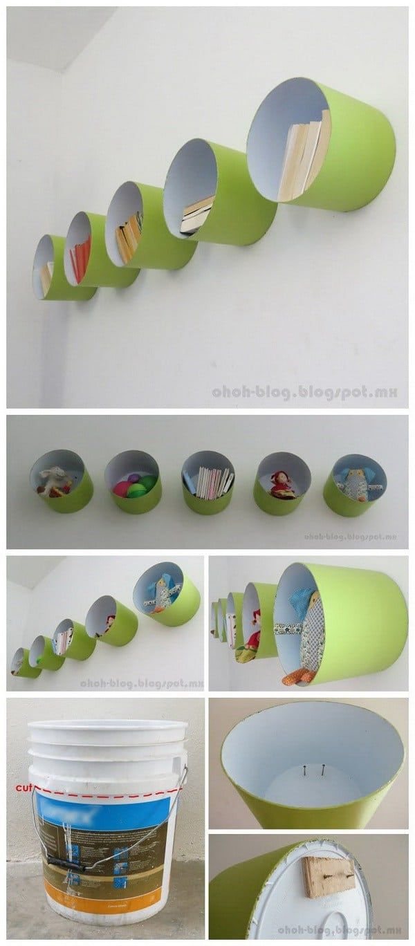 DIY shelves paint bucket