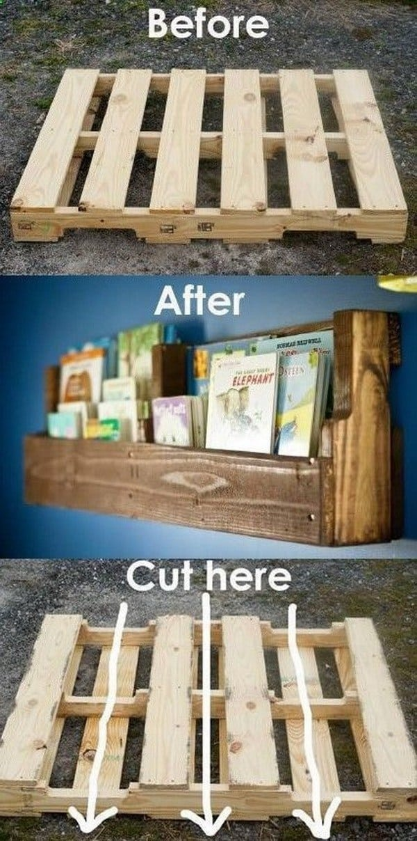 DIY shelves pallet bookshelf