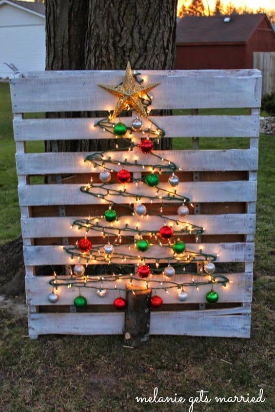 diy christmas decorations pallet tree