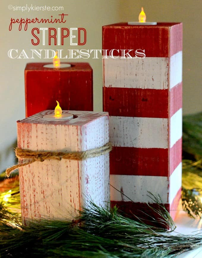 diy christmas decorations peppermint candle sticks