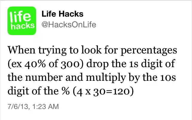 math hacks percentages
