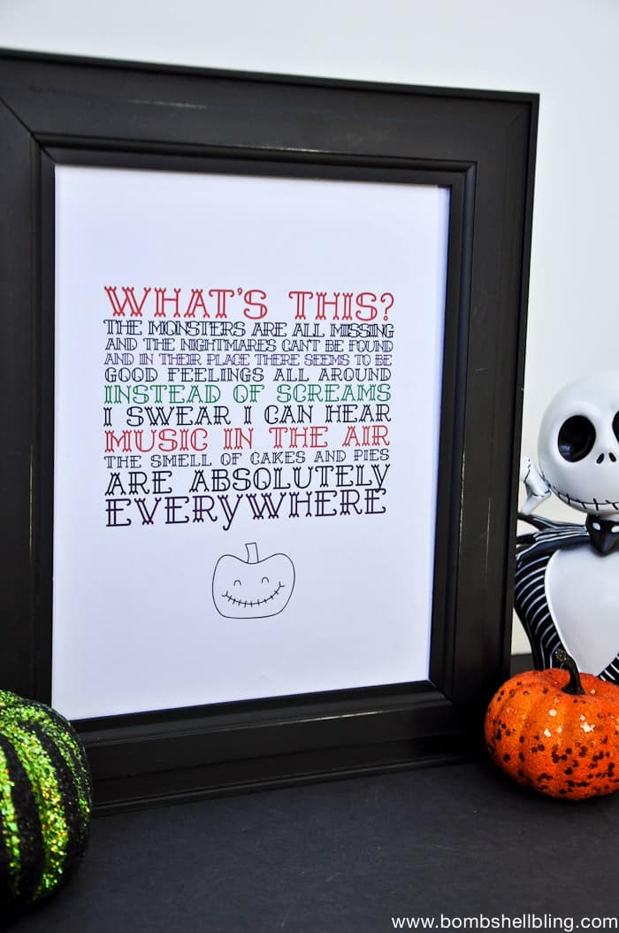 the Nightmare Before Christmas crafts print quote