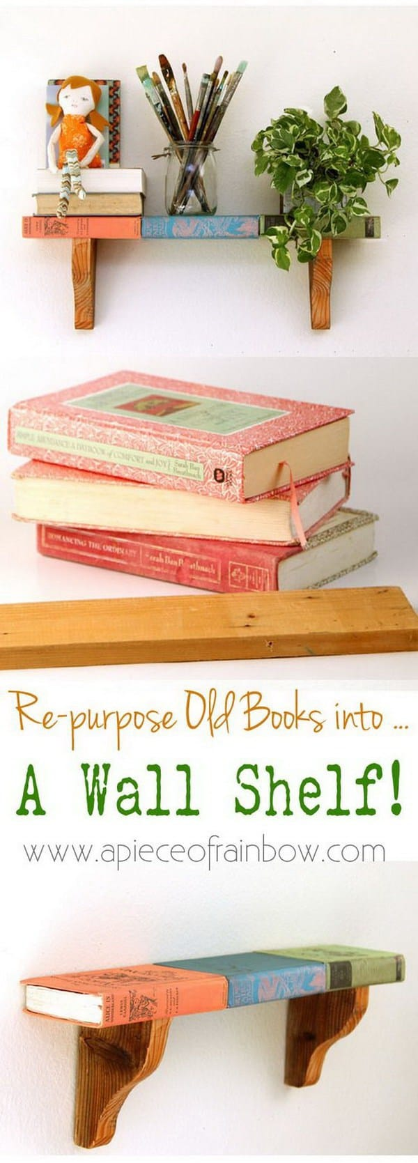 DIY shelves repurpose books into shelf
