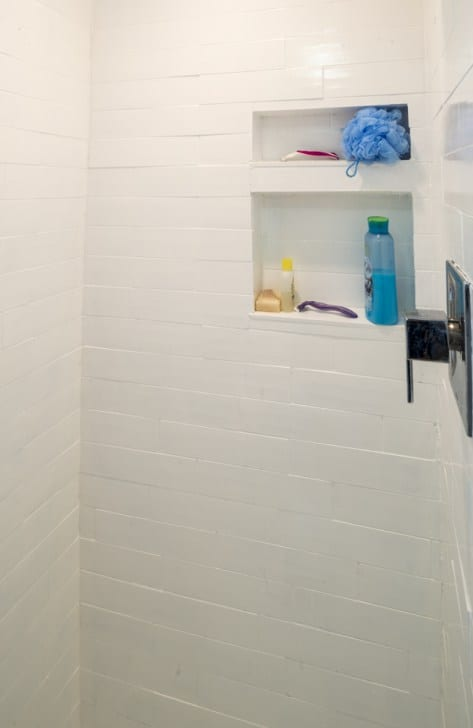woman built a tiny home shower