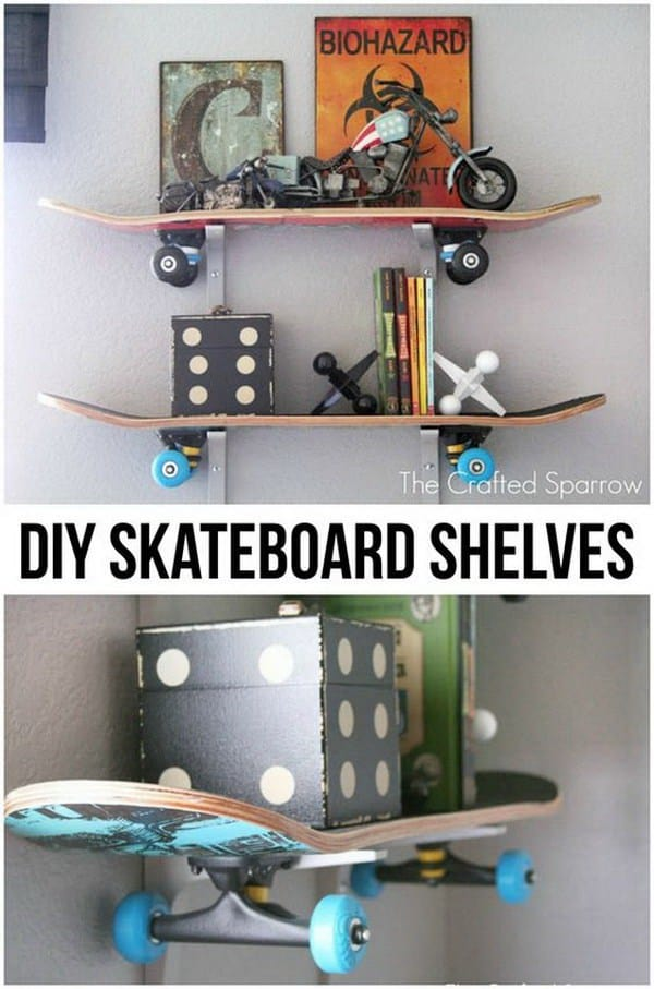 DIY shelves skateboard shelf