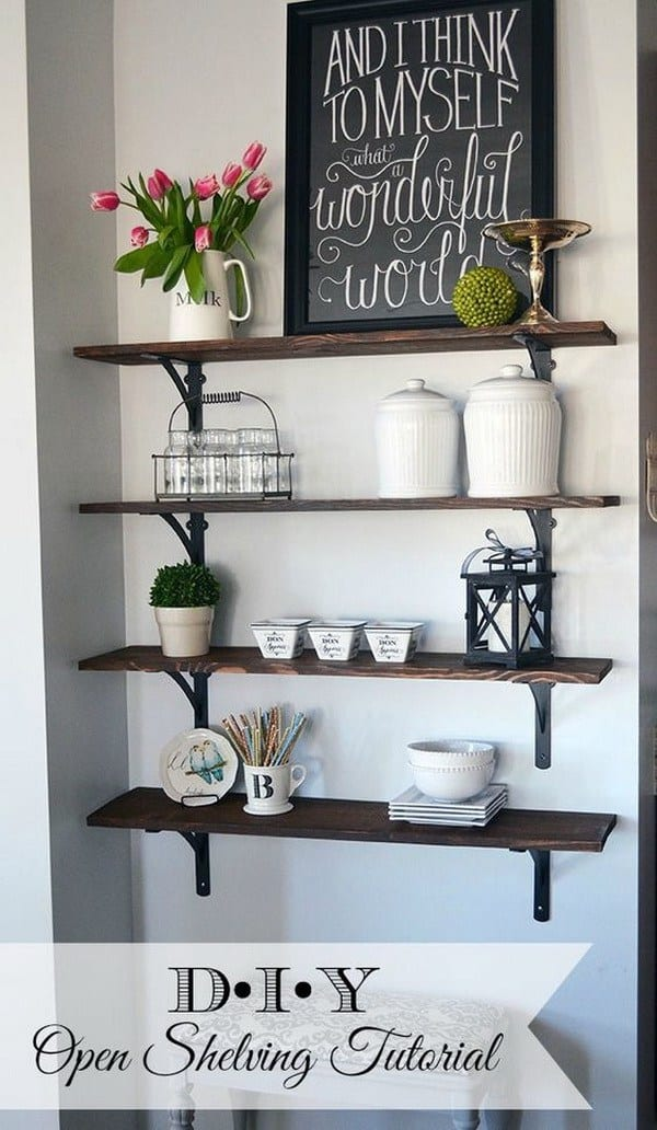 DIY shelves stained shelf