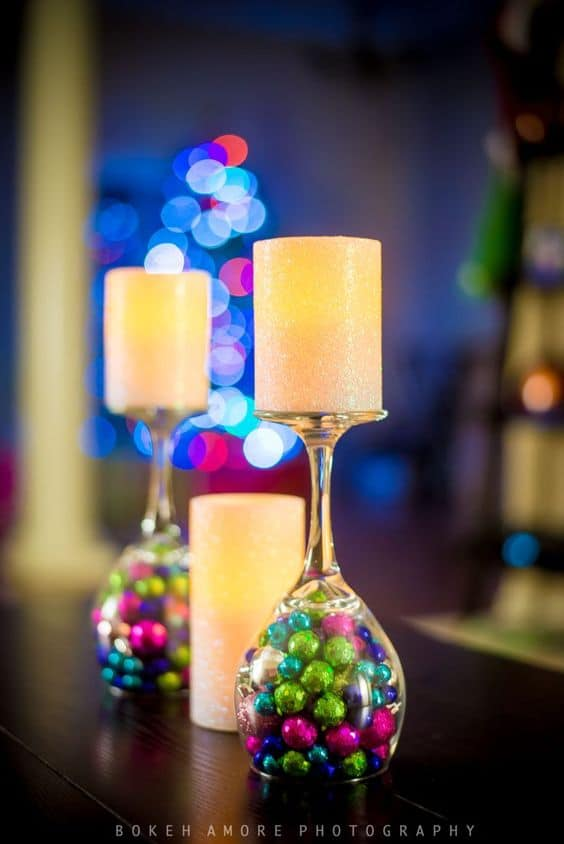 diy christmas decorations wine glass candle sticks
