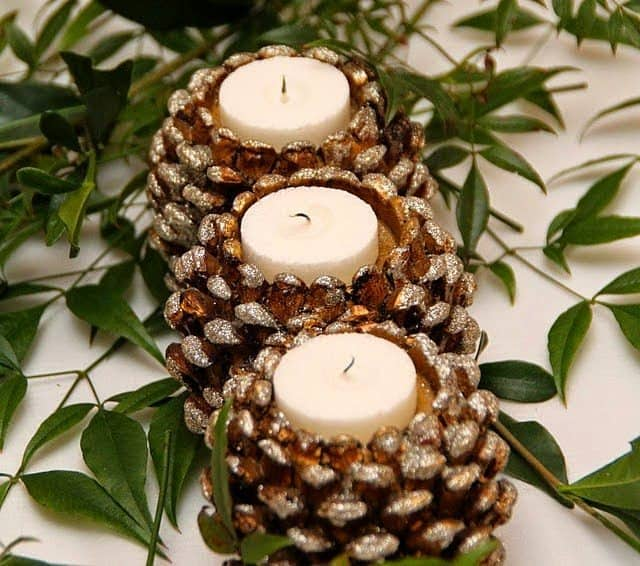 DIY pine cone crafts candle holders