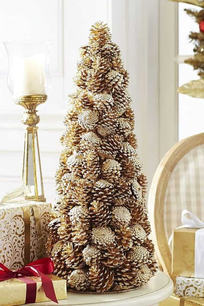 DIY pine cone crafts gold tree