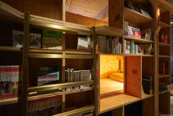 bookstore hostel bed