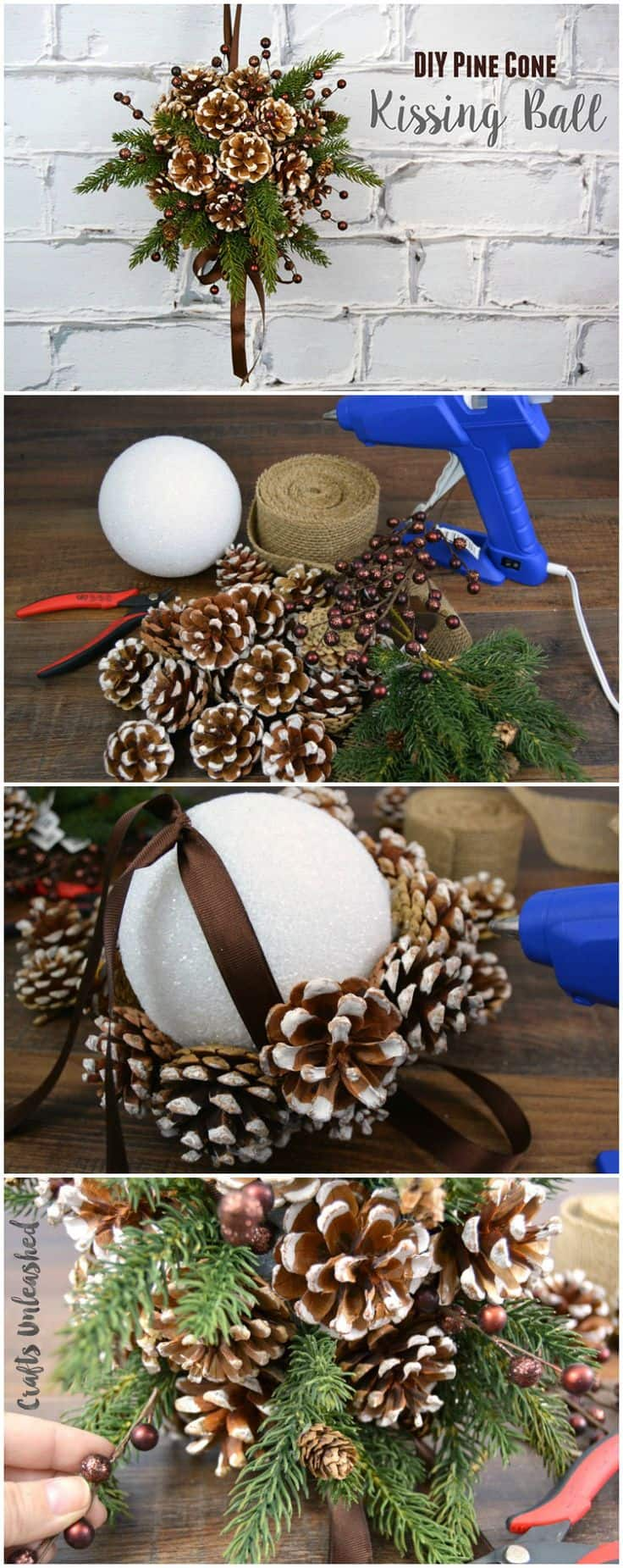 DIY pine cone crafts kissing ball