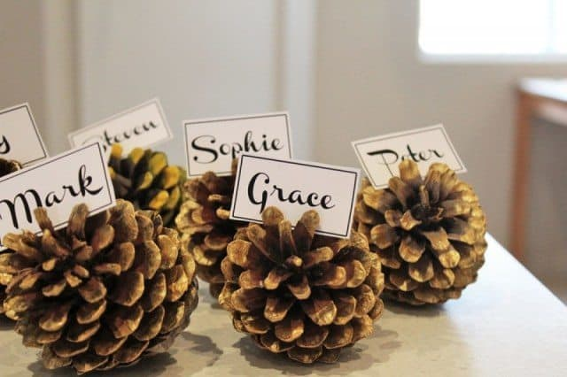 DIY pine cone crafts name placement