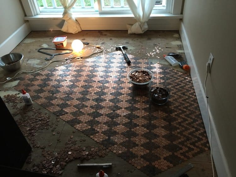 floor made with pennies 3