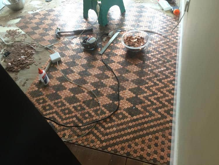 floor made with pennies 5