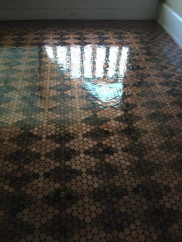floor made with pennies epoxy