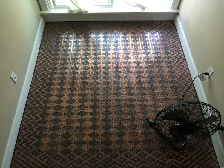 floor made with pennies 9-glued