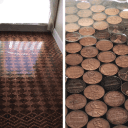 Her DIY Floor Is Made With 13,000 Pennies And Looks Spectacular