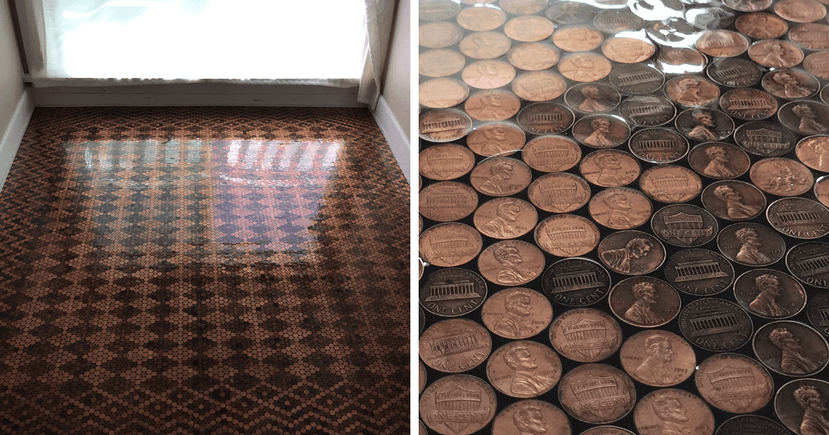 Her DIY Floor Is Made With 13,000 Pennies And Looks ...