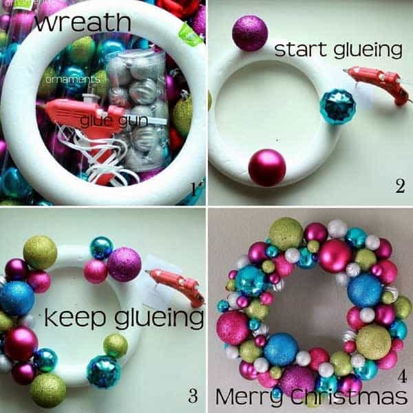 15 diy christmas wreaths to get you in the christmas spirit diy this is one of my favorites you can decorate a foam circle with your favorite christmas ornaments solutioingenieria Images