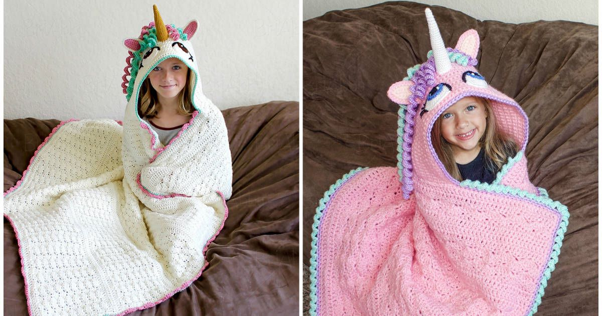 Adorable Hooded Unicorn Blanket Crochet Pattern
