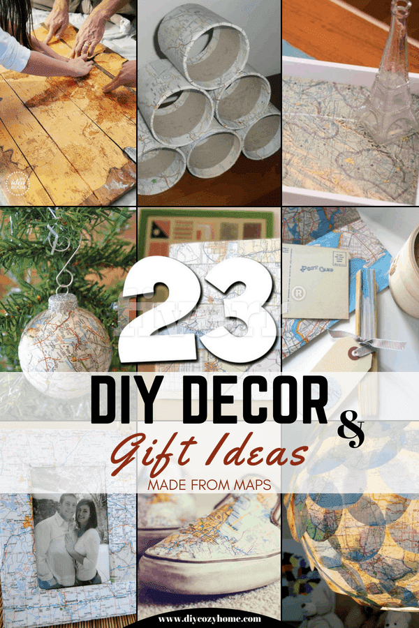 23 DIY Decor and Gift Ideas Made From Maps